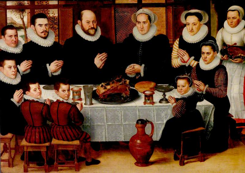 A Family Saying Grace before a Meal