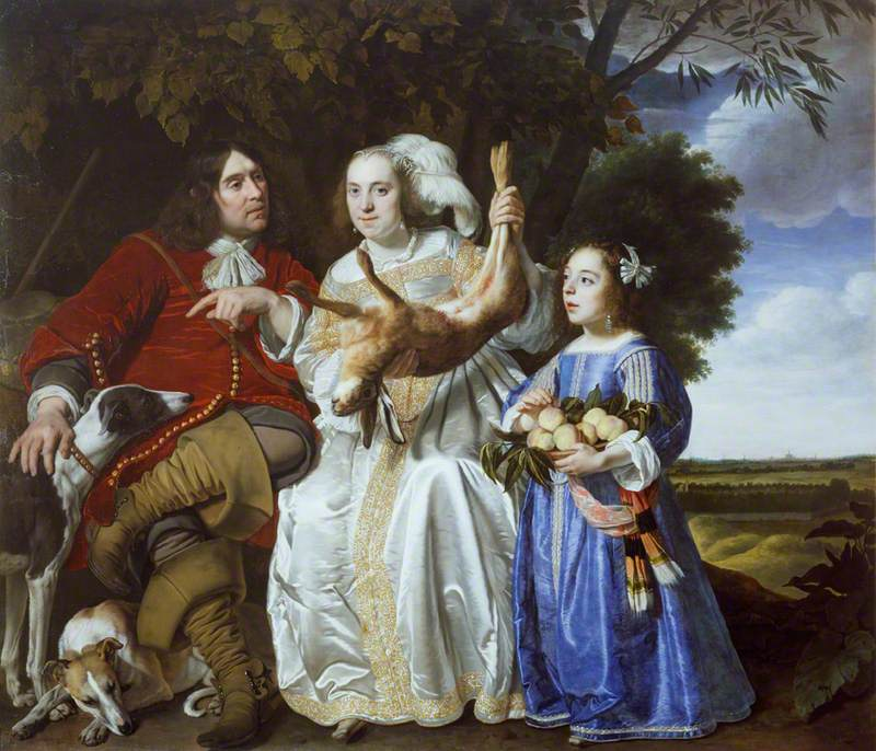 Jochem van Aras with His Wife and Daughter