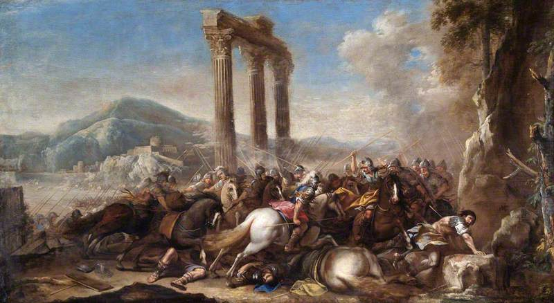 Battle Scene with Classical Colonnade
