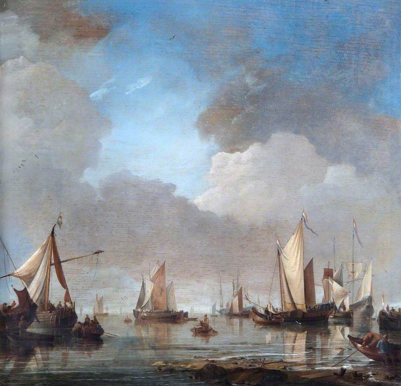Large Ships and Boats in a Calm