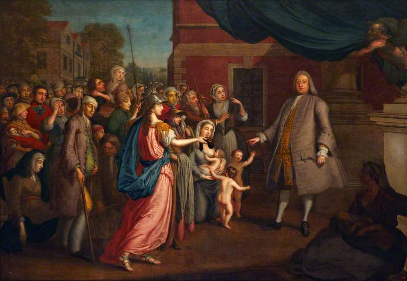 Joshua Ward Receiving Money from Britannia (and Bestowing it as Charity on the Needy)