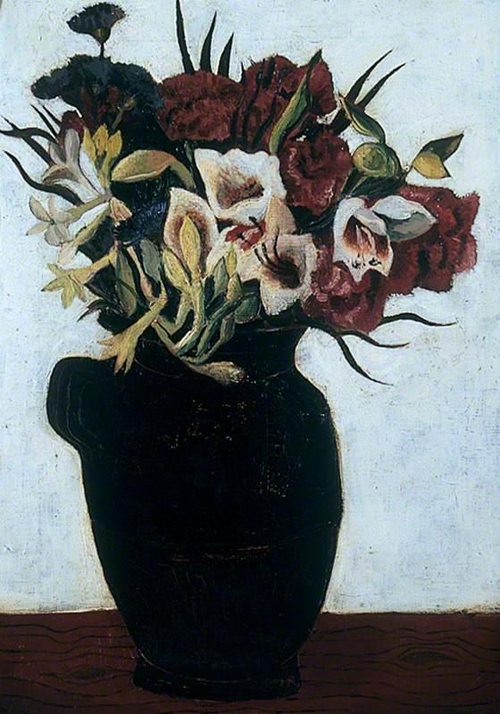 Flowers in a Black Jug
