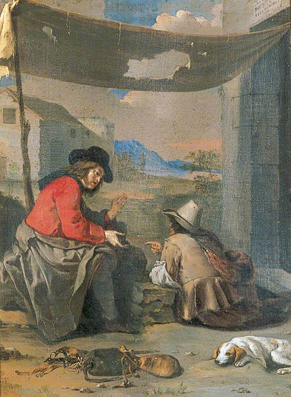 Two Seated Figures with a Dog