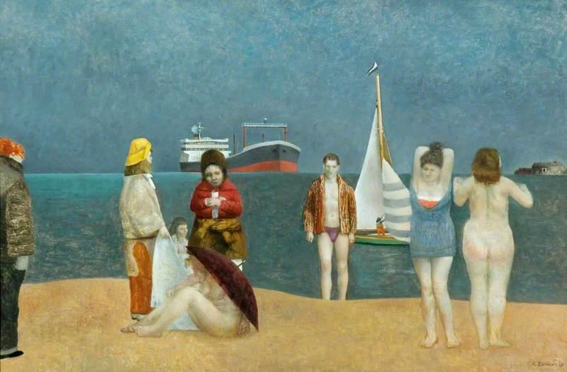Robing Bathers on a Rainy Beach