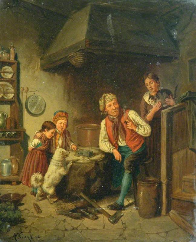 Man with a Pipe and Children