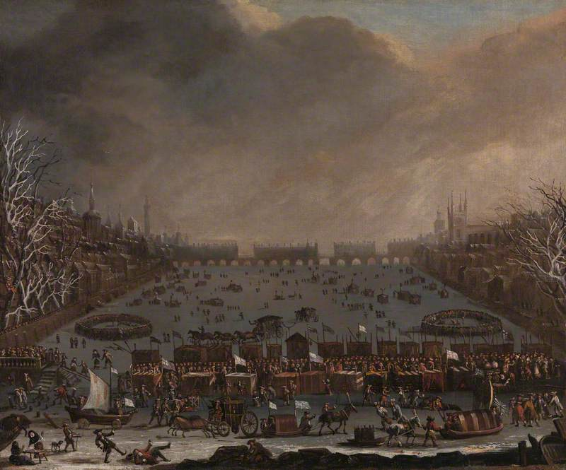 Frost Fair on the Thames, with Old London Bridge in the Distance