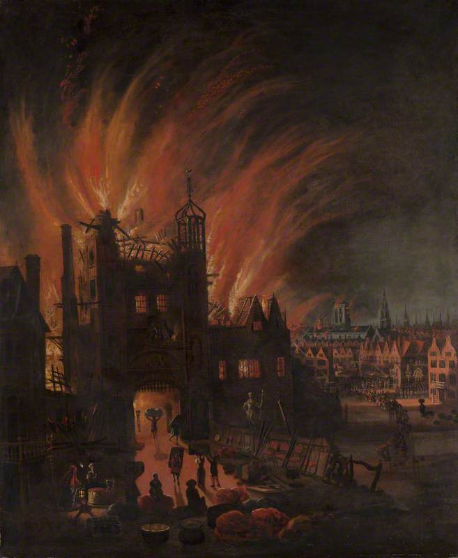 The Great Fire of London, with Ludgate and Old St Paul's