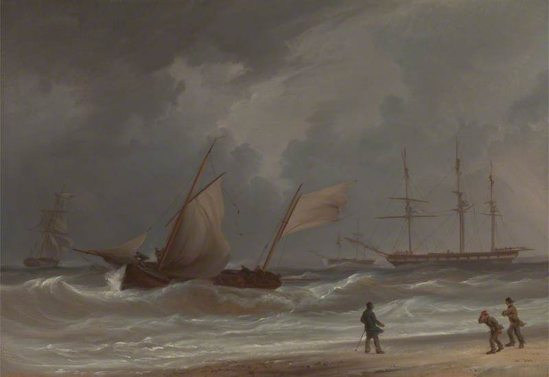 A Lugger Driving Ashore in a Gale