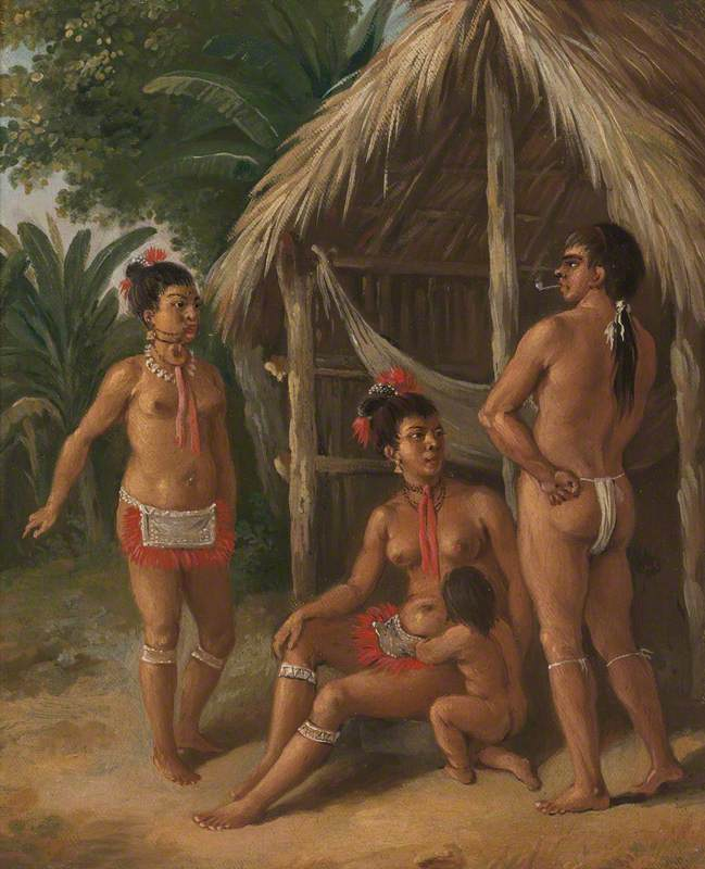 A Leeward Islands Carib Family outside a Hut