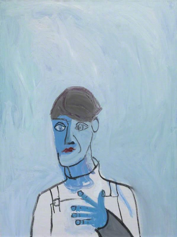 Untitled (White Dungarees on Blue Background)