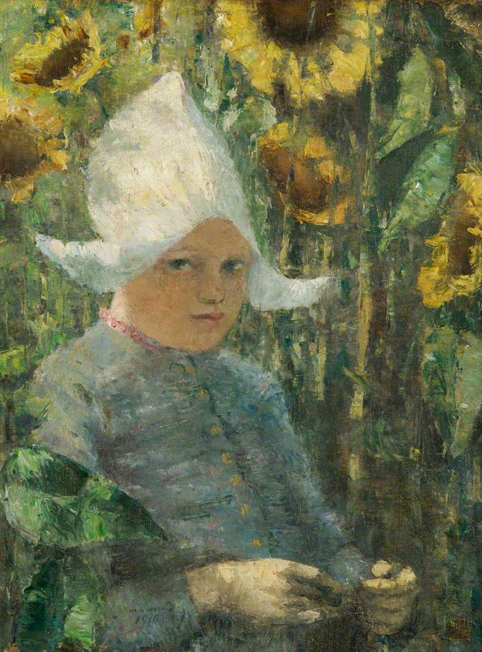 Dutch Girl with Sunflowers
