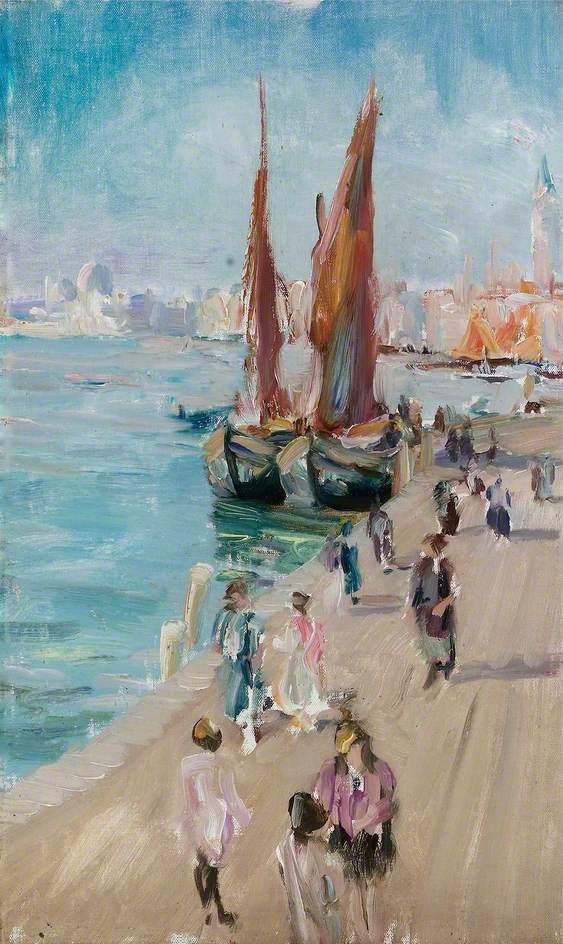 Venetian Scene, Lagoon with Boats at Quay
