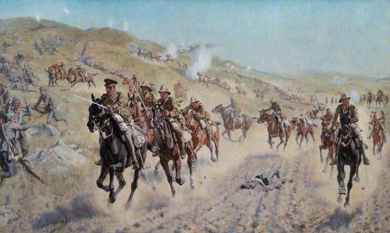 The Charge of the Buckinghamshire, Berkshire and Dorset Yeomanry at El Mughar, Palestine