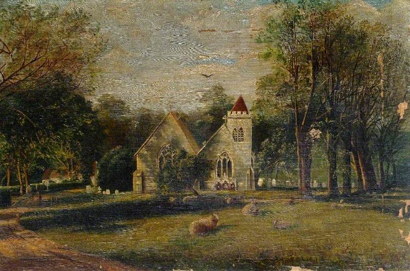 Church with Sheep in the Foreground