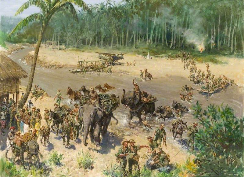 The Crossing of the Indaw Chaung, Burma, 1944