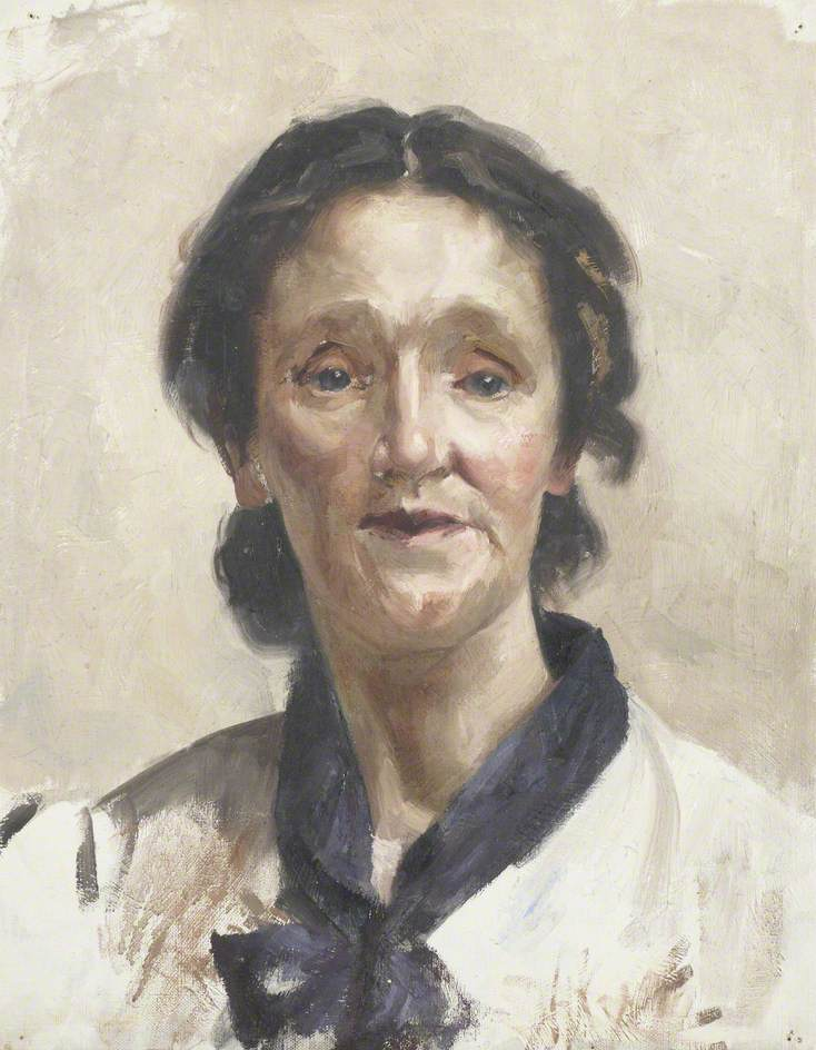 Portrait of a Young Woman Wearing a White Shirt with a Blue Scarf
