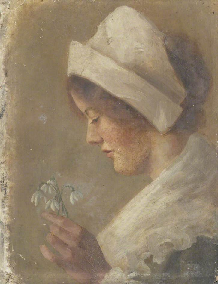 Portrait of a Woman Holding Snowdrops