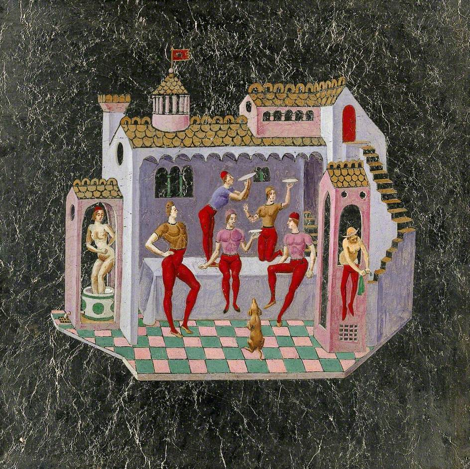A House with a Turret: To the Left a Woman Is Bathing, to the Right Another Woman Is Wringing Out Clothes, and in the Centre Five Men Are Juggling Plates, All in a Medieval Style