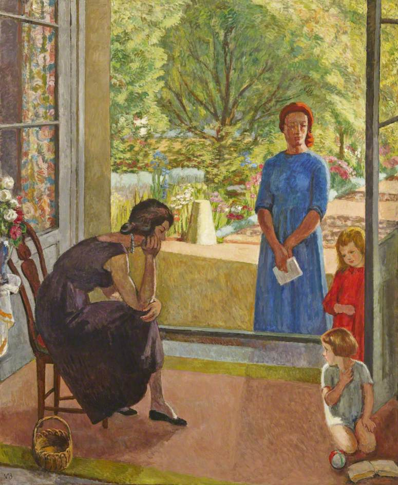 Figure Group with the Artist, Another Woman and Two Children by French Windows