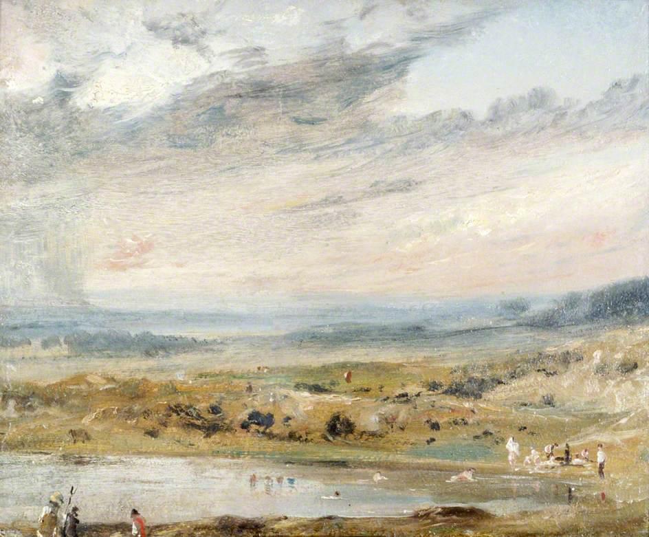 Hampstead Heath, with Pond and Bathers