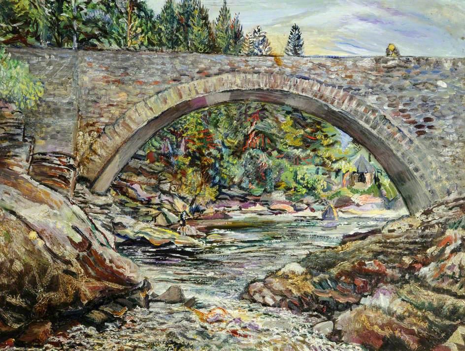 Falls of Invermoriston, New Bridge, Scotland, with A. Egerton Cooper on the Bridge