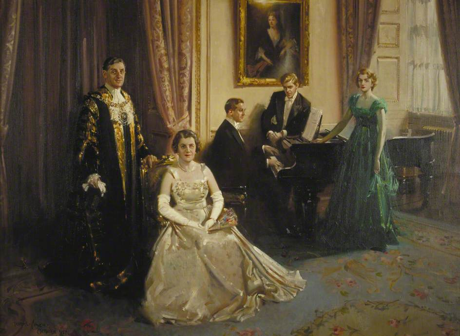 Sir Cuthbert and Lady Ackroyd and Their Family in the Mansion House, London