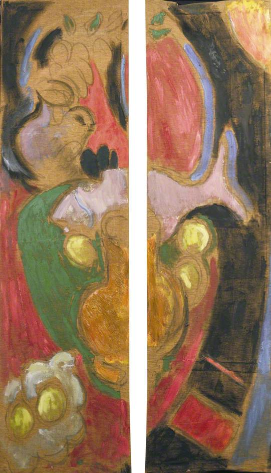Double Leaved Screen, Still Life with Mauve Fish