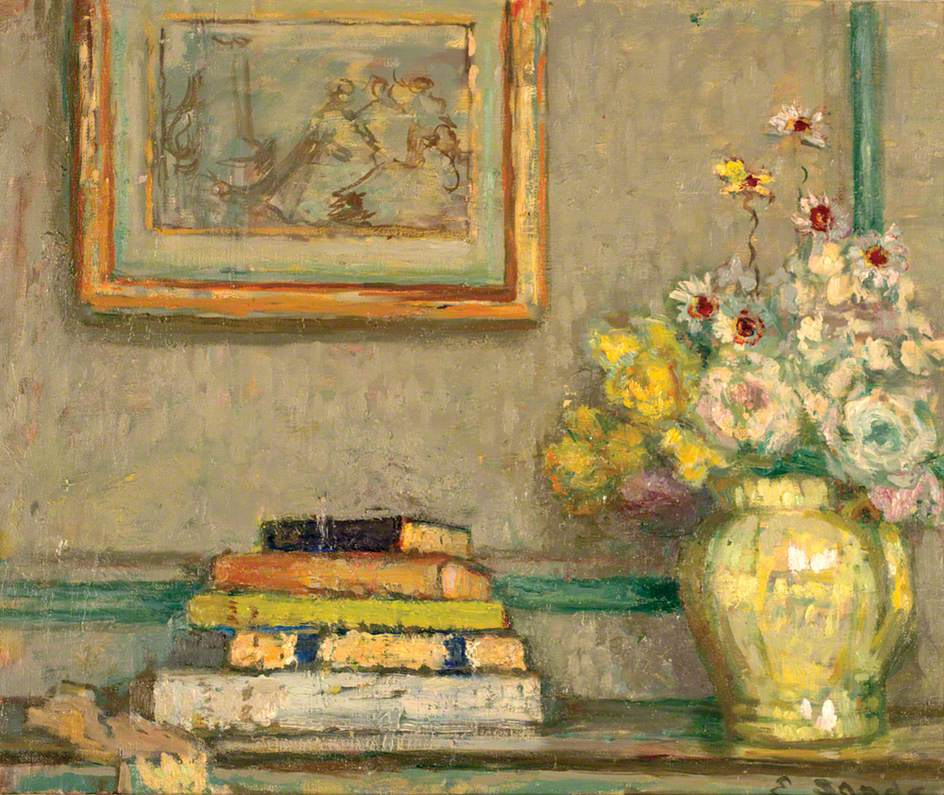 Still Life with Books and Flowers