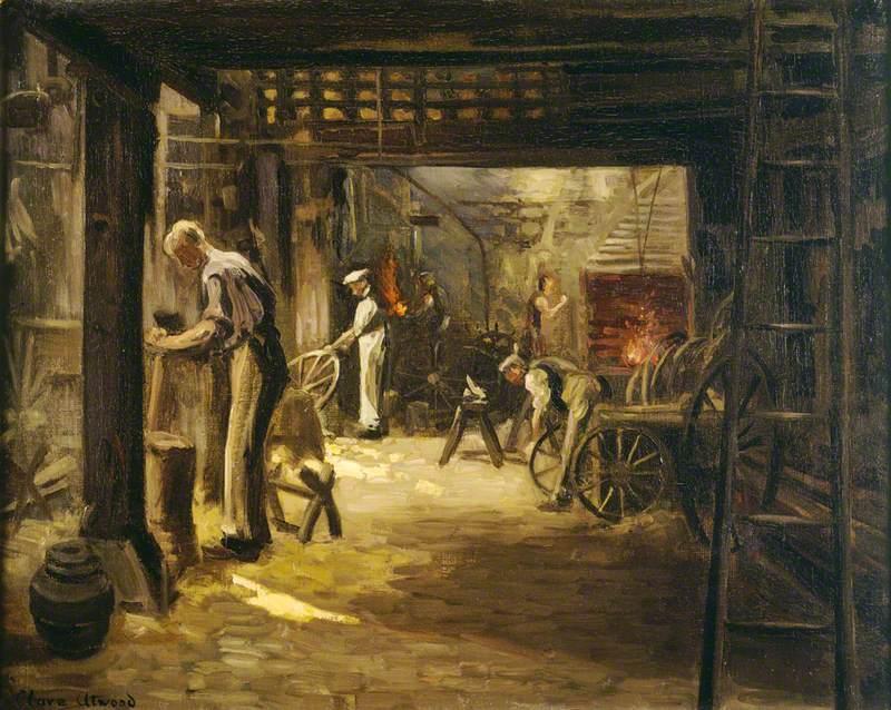 Interior of the Coach-Wheelwright's Shop at 4 1/2 Marshall Street, Soho, London