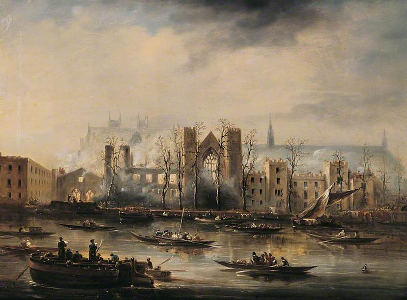 The Palace of Westminster, London, from the River after the Fire of 1834