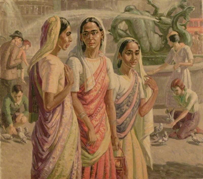 Indian Women in Trafalgar Square, London