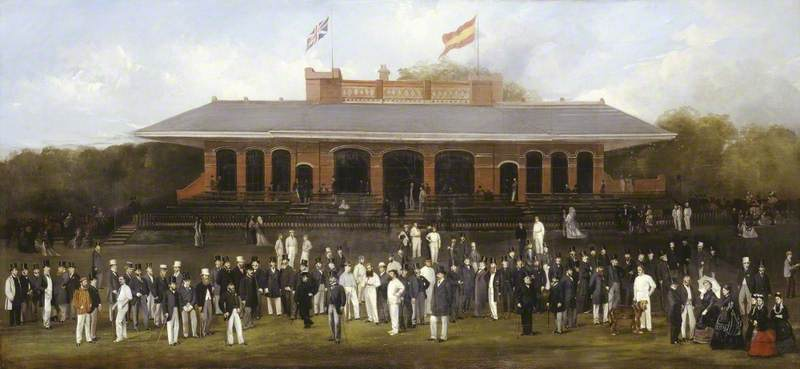 Portrait Group of Members of the Marylebone Cricket Club Outside the Pavilion at Lord's, London
