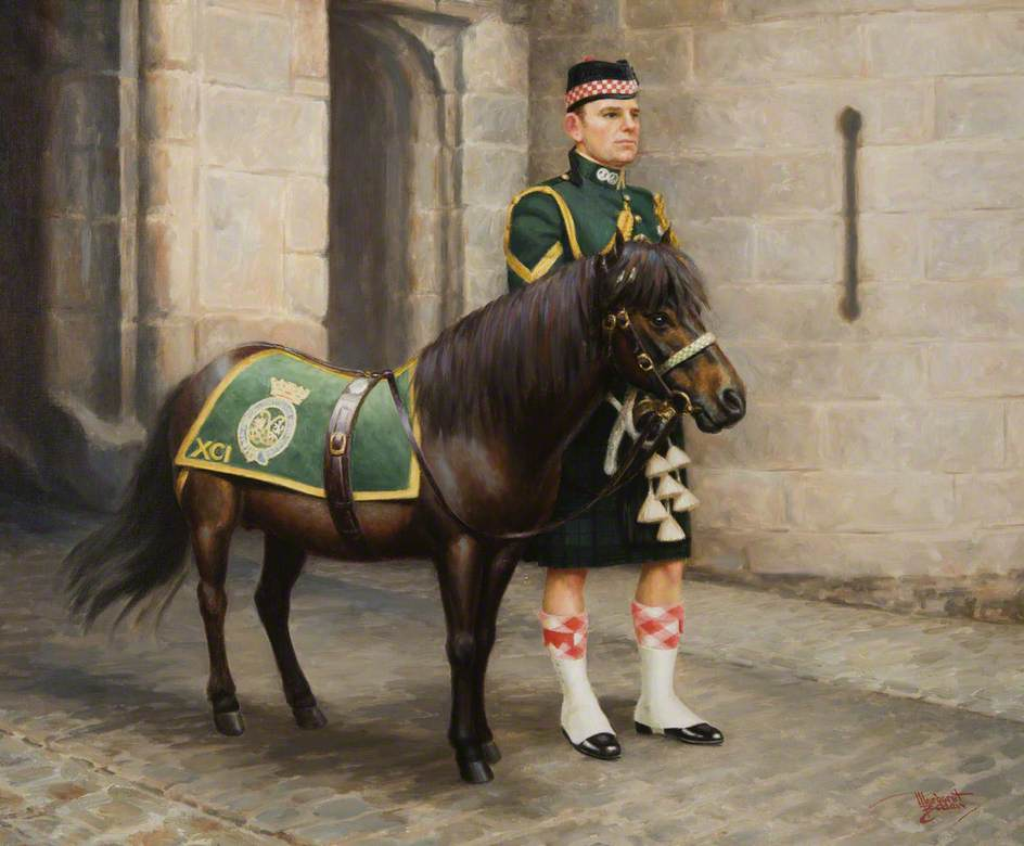 'Cruachan II', Regimental Mascot, with Pony Major Lance Corporal A. Sloss