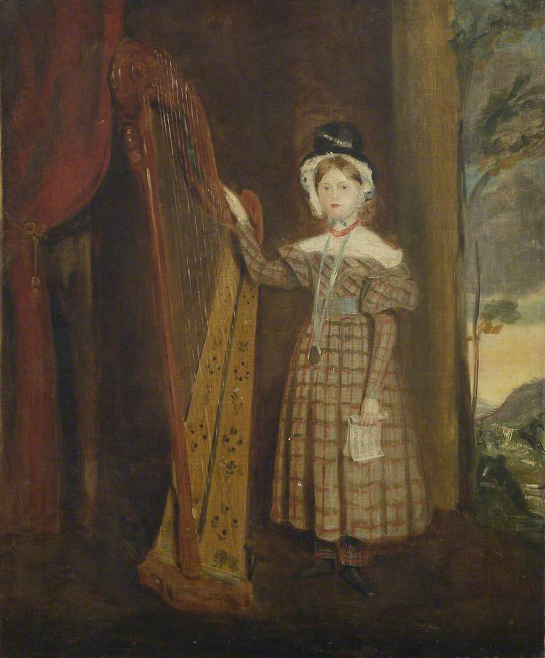 Portrait of a Young Girl in Welsh Costume with a Harp