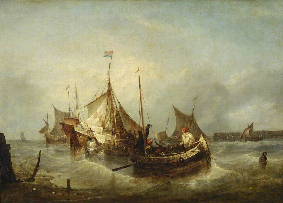A Fishing Boat with Dutch Ships in a Harbour*