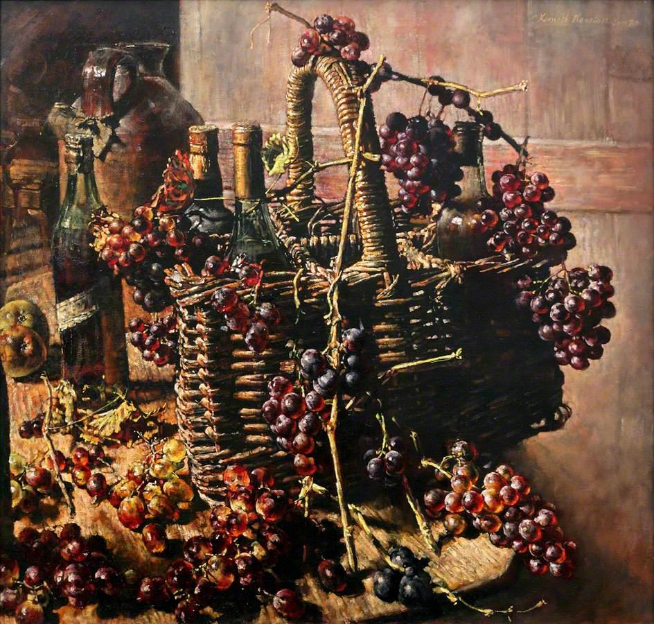 Basket, Bottles and Grapes