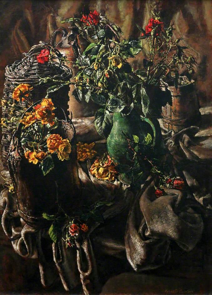 Roses in a Cider Jug