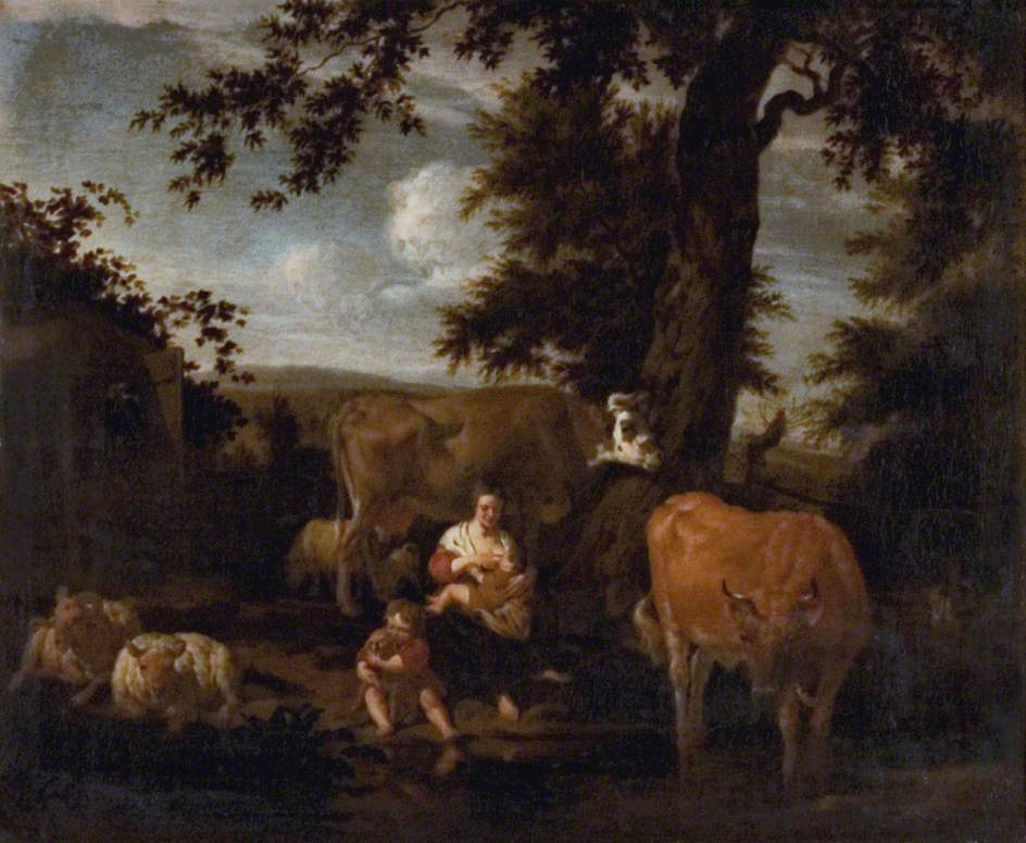 A Landscape with Cattle and Sheep