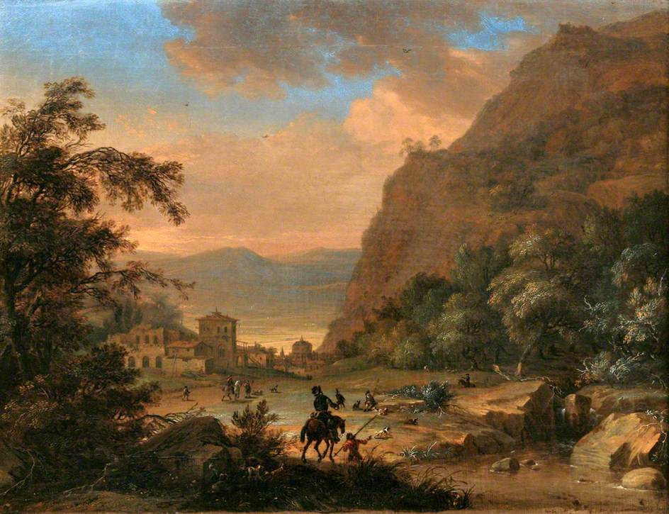 Mountain Landscape with Figures and a Hawking Party