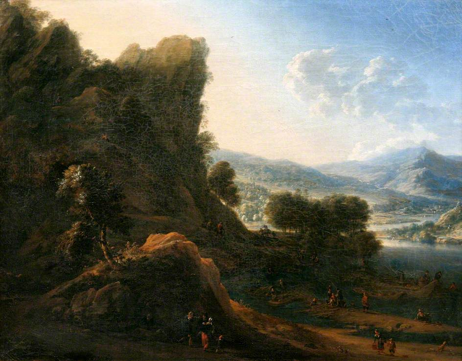 Mountain Landscape with Figures Approaching a Landing Stage with Boats