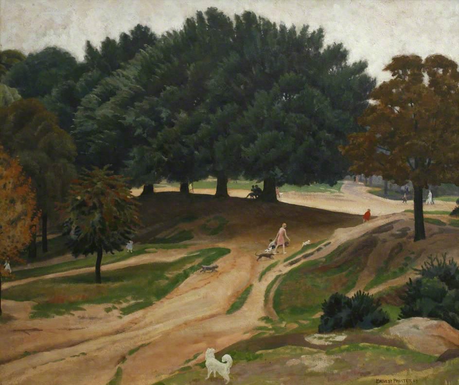 Hampstead Heath (Figures and Dogs amongst Trees)
