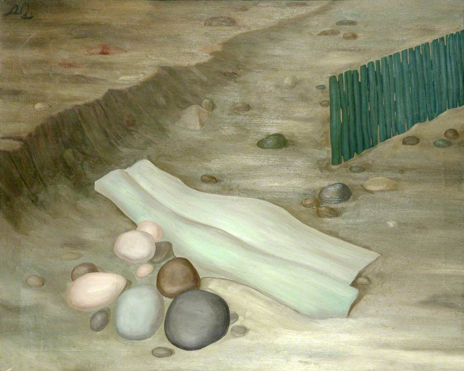 Green Fence, Driftwood and Pebbles