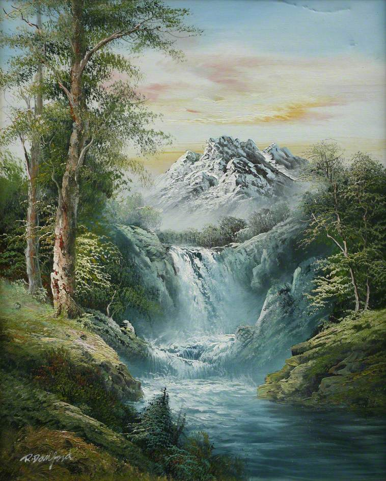 Waterfall and Mountains