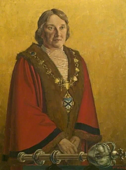 Councillor Mrs Janet Buchanan McIntyre, née Davidson (1876–1955), Mayor of the Borough of Ilkeston (1934–1935)