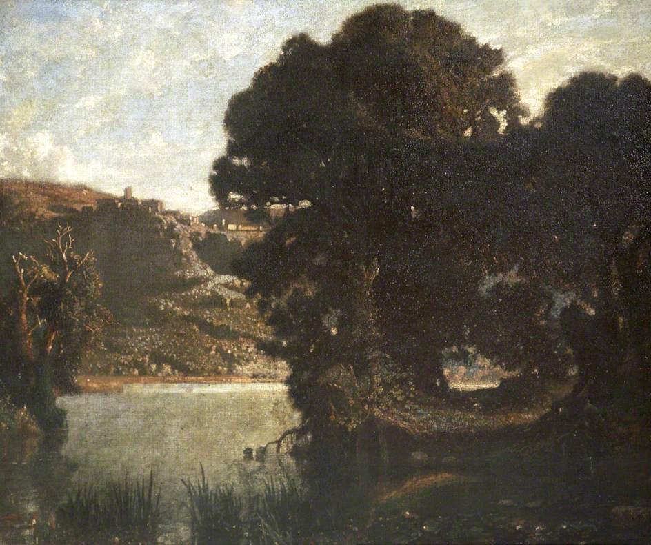 Lake Nemi Showing Castel Gandolfo and the Barberini Palace, Italy