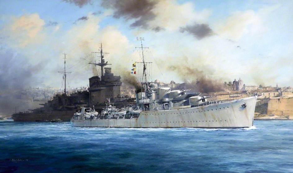 HMS 'Kelly', Grand Harbour, Malta, 1941