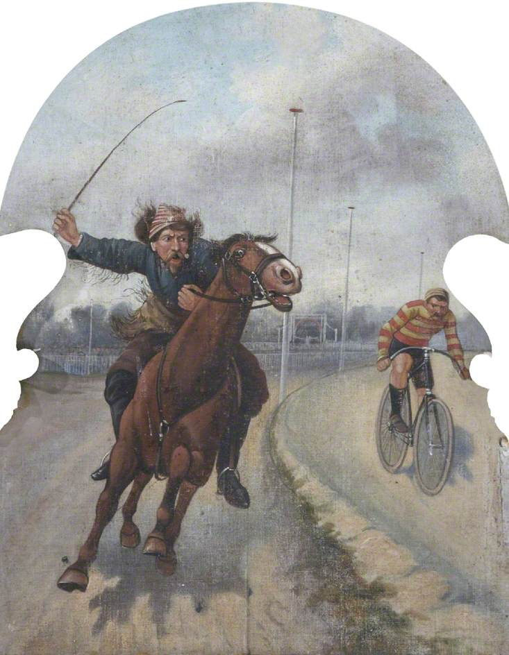 Hatwell's 'Gallopers': Horse and a Cyclist