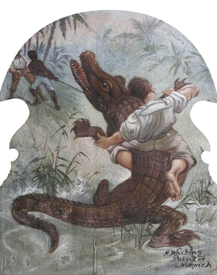 Hatwell's 'Gallopers': Man Wrestling an Alligator