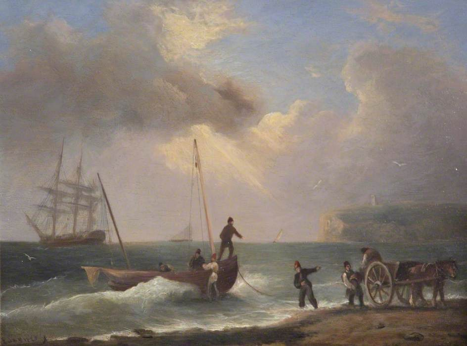 Figures on a Beach Unloading Barrels from a Small Boat
