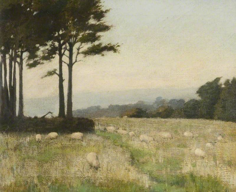 Wooded Landscape with Sheep Grazing